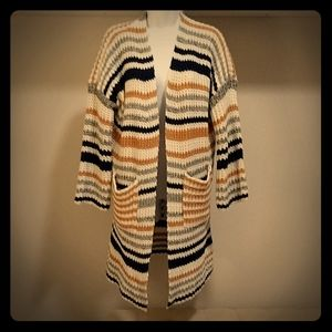 NWOT Cozy Striped Knit Duster Cardigan - M
